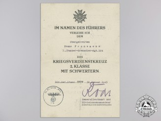 A War Merit Cross 2nd Class with Swords Document to 1./Panzer-Grenadier-Rgt.104, 1945