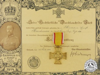 A Lippe Detmold War Merit Cross & Document to the 190th Infantry Regiment