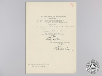An Announcement Document Signed by General Werner Thomas Ludwig Freiherr von Fritsch