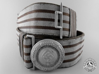 A Reich Labour Service Officer's Brocade Dress Belt with Buckle; Published Example