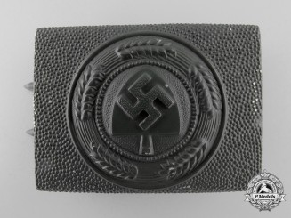 A 1939 Rare Field Green RAD Enlisted Man's Belt Buckle by Julius Maurer; Published Example