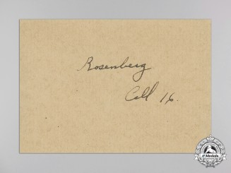 An Original Signature of  Alfred E. Rosenberg; While He Was at Nuremberg Trials