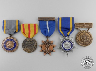 Five American National Guard Medals