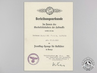 An Award Document for Luftwaffe Reconnaissance Squadron Clasp