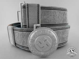 An SS Police Officer's Brocade Dress Belt with Buckle by Overhoff & Cie, Ludenscheid