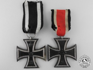 Two First & Second War Iron Crosses; Second Class