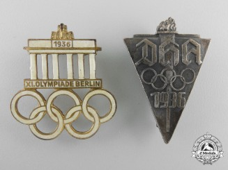 Two 1936 German Olympic Badges