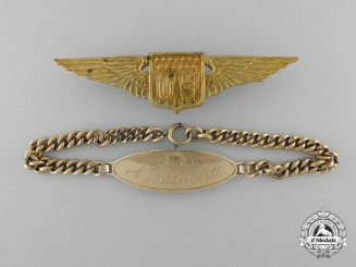 A First War American  Aviator's Wings with ID Tag to A.B. Babbitt