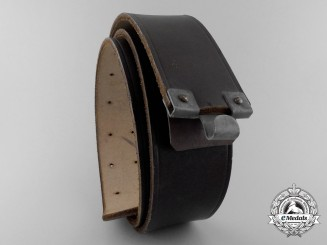 A Brown Leather HJ Belt; RZM & Croupon Marked