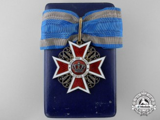 An Order of the Romanian Crown; Commander's Cross Type I with Case