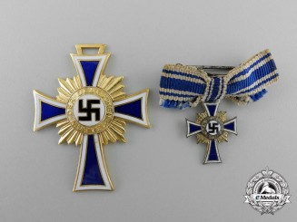 A German Mother's Cross; Gold Grade with Miniature