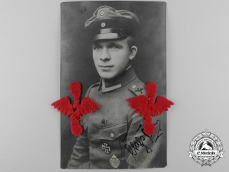A Signed German Imperial Pilot's Photograph with Imperial Air Service Insignia