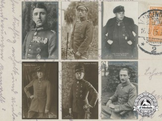 Six First War German Imperial Airmen Picture Postcards
