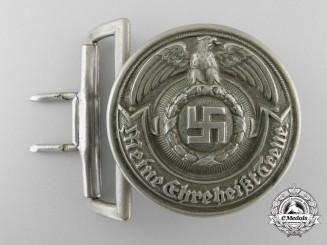 An Early & Rare SS-Officer's Belt Buckle in Nickel-Silver by Overhoff & Cie; Published Example