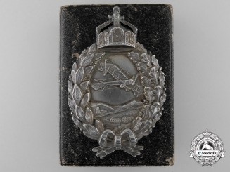 A First War Prussian Pilot's Badge in Silver by Juncker with Case