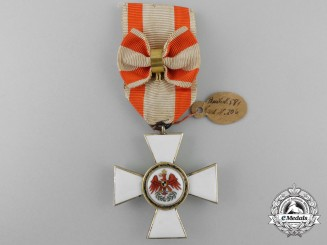 A Prussian Order of the Red Eagle; Third Class Cross with Tag