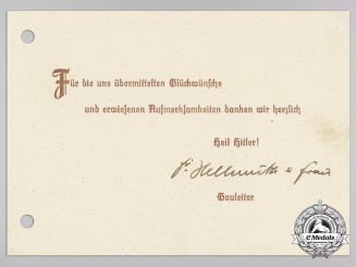 A Signed Thank You Card from District Leader (Gauleiter) and Frau Hellmüth Acknowledging