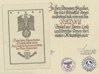 A Large and Decorative NSDAP Condolence Letter