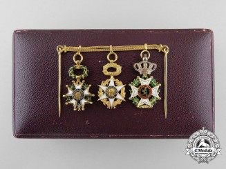 An Exquisite French Miniature Group in Gold by Fayolle Pouteau, Paris