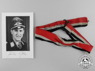 A Knight's Cross of the Iron Cross 1939 Ribbon Belonging to Fighter Pilot Ace Major Günther Rall