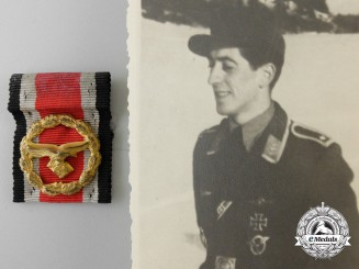 A Luftwaffe Issued Honour Roll Clasp with Pilot's Photograph 1945