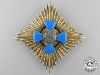 A Romanian Faithful Service Order; Grand Cross Breast Star by Heinrich Weiss of Bucharest