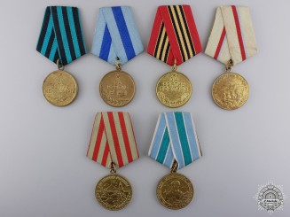 Six Russian Medals and Awards; Soviet Period