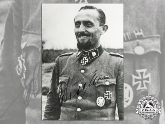 A Post War Signed Photograph of Knight's Cross Recipient; Max Seela
