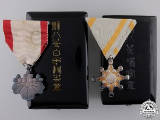 Two Japanese 8th Class Orders with Cases