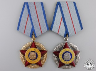 Two Romanian Socialist Order of Military Merit; 1st and 2nd Classes