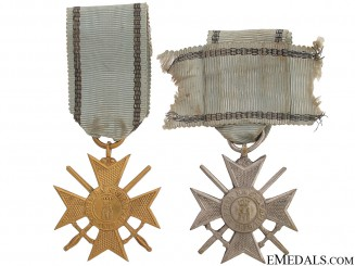 Two Soldier's Crosses for Bravery