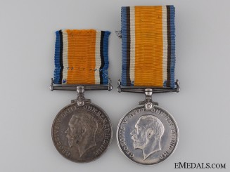 Two WWI British War Medals; Yorkshire & Royal Artillery