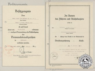 Two Award Documents to the Assistant Physician of 195th Artillery