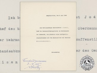 An Important 1945 Letter from Gross Admiral Karl Dönitz to Generaloberst Jodl Authorizing a Ceasefire