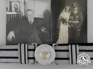 A Diplomatic Brocade Dress Belt with Buckle Attributed to Career Diplomat Dr. Kille