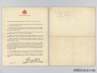 WWI Buckingham Palace Victory Thank You Letter; 19th CEF