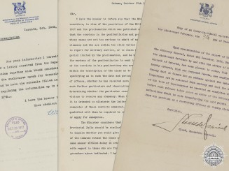WWI Canadian Authorization Letters for Prisoners Reporting for Military Service
