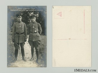 WWI Two German Flying Aces Picture Postcard