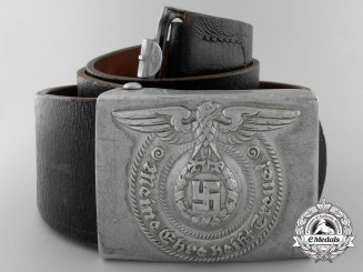 An SS Enlisted Man's Belt Buckle with Belt by Overhoff & Cie