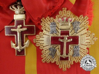 A Spanish Order of Naval Merit with Red Distinction; Grand Cross Set