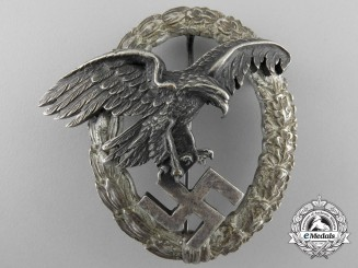 """An Early Luftwaffe Observer's Badge by Juncker; """"Thin Wreath"""" Version"""