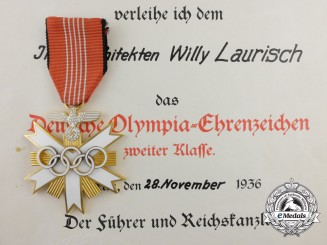 A München Olympic Games 1936 Decoration 2nd Class with Award Document & Banquet Invitation