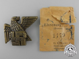A Gau Honor Badge Thüringen; Numbered with Pocket of Issue