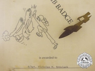 """A 55th Anti-Aircraft Artillery Brigade """"Buzz Bomb"""" (V-1 Flying Bomb) Badge and Certificate"""