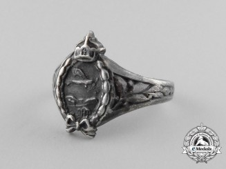 A First War German Aviator's Silver Ring; Double Hallmarked 800