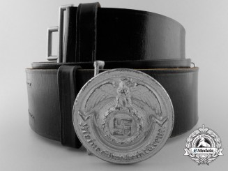 An SS Officer's Belt with Buckle by Overhoff & Cie, Ludenscheid