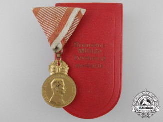 An Austrian Military Merit Medal with Case