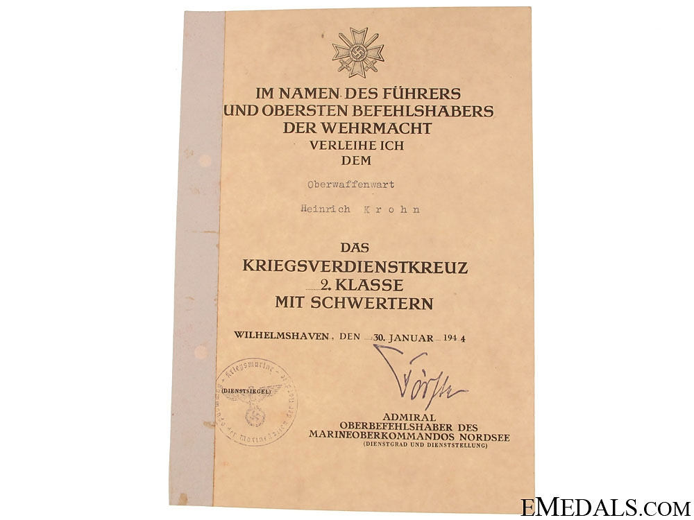 Group of Naval Documents to Heinrich Krohn