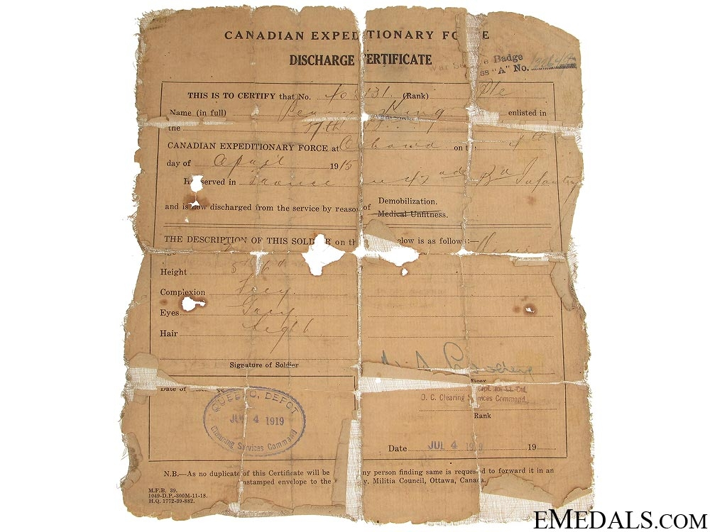 WWI Canadian Documents - 37th Infantry CEF