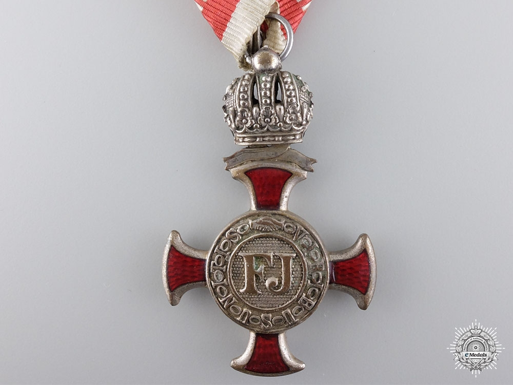 An Austrian Silver Cross of Merit with Crown & Decoration